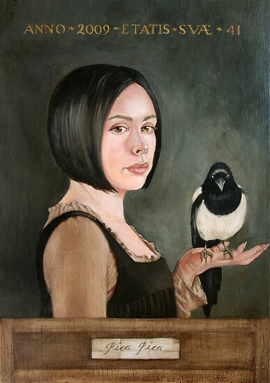 Self Portrait with Magpie by Amanda Clegg