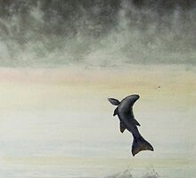 Morning Mist on the Miramichi with Salmon jumping by Laura Lea Comeau