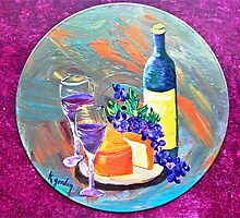 Wine & Cheese & Grapes by WhiteDove Studio kj gordon