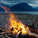Bonfire in Olderdalen, Kåfjord by Algot Kristoffer Peterson