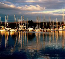 Yachts moored on the Caledonian Canal by Peter Mackenzie
