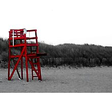 Red Lifeguard Chair Photographic Print