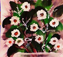 Vase of white flowers, watercolor by Anna  Lewis