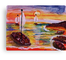Into the cove, revised, watercolor Canvas Print