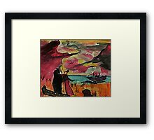Captain saying goodbye to his beloved, revised, watercolor Framed Print