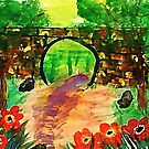 Path under bridge, revised, watercolor by Anna  Lewis