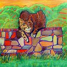 359 - CAT ON A DRY-STONE WALL - DAVE EDWARDS - COLOURED PENCILS - 2012 by BLYTHART
