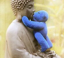 Blue Bear loves Buddha by Kerry McQuaid