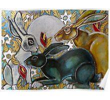 Three Moon Gazing Hares Poster