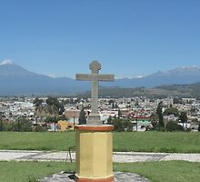 Cross with 2 Volcanoes by elizabethtarde