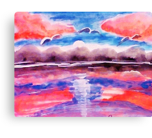 #3 Pink sunset in abstract, revised, watercolor Canvas Print
