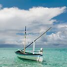 Maldivian Boat Dhoni on the Peaceful Water of the Blue Lagoon by JennyRainbow