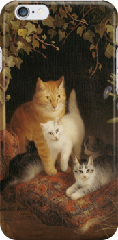 Kittens with Mother Cat iPHONE Case by Pamela Phelps