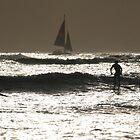 HAWAII - Waikiki Beach Surfers & Sailboat by jsafford