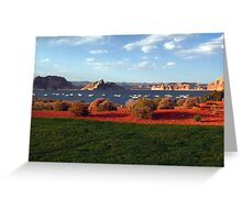 Lake Powell and houseboats, Utah, USA Greeting Card