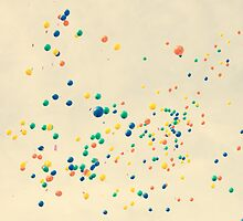 All the magic between you and me ( many colour balloons flying in a retro sky) by Andreka