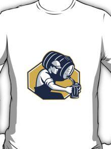 Bartender Pouring Keg Barrel Beer Retro T-Shirt