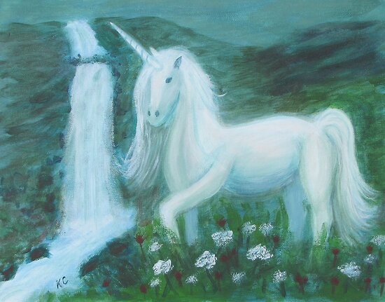 Kathy Cristofaro     Portfolio     Unicorn by WaterfallUnicorns And Waterfalls