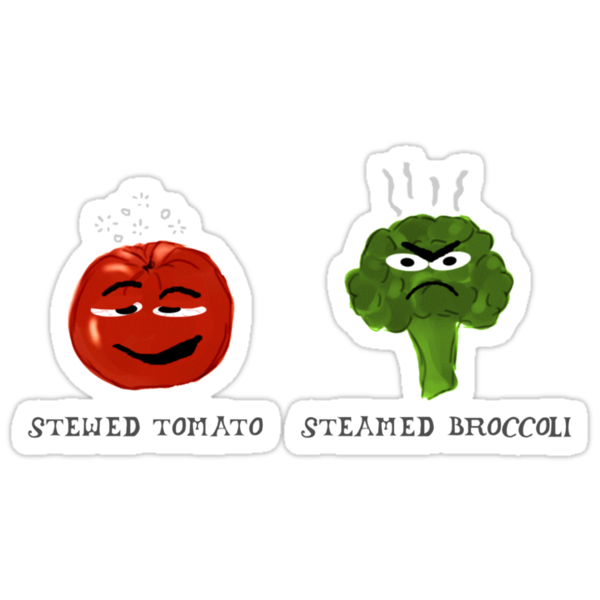 Funny Veggies Broccoli and Tomato by Sarah Countiss
