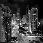 Surfer&#x27;s Paradise by Night/B&amp;W  by Julie Sleeman