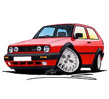 VW Golf GTi (Mk2) Red Photographic Print