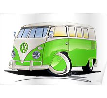 VW Splitty (11 Window) Lime Green Poster