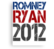 Romney Ryan 2012, Bold Grunge Design Canvas Print