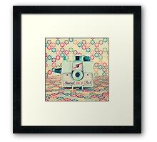 Film Mint Camera on a Colourful Retro Background  Framed Print