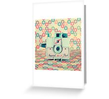 Film Mint Camera on a Colourful Retro Background  Greeting Card