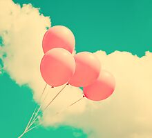 Happy Pink Balloons on retro blue sky  by Andreka