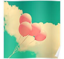 Happy Pink Balloons on retro blue sky  Poster