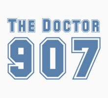 The Doctor 907  ( Blue Text T-Shirt & Sticker ) by PopCultFanatics