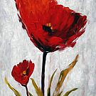 Red Flowers Oil Painting by Fred Seghetti