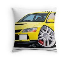 Mitsubishi Evo IX Yellow Throw Pillow