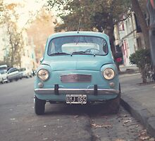 Mint - Blue Retro Fiat Car  by Andreka