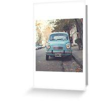 Mint - Blue Retro Fiat Car  Greeting Card