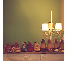Dancing Shoes and Heels (retro and vintage girly shoes and heels with a lovely lamp) Photographic Print