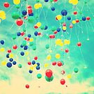 Let your wishes fly (Colour balloons in vintage - retro turquoise sky) by Andreka