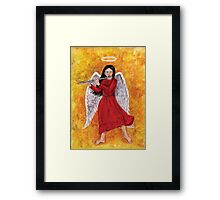 Angel girl playing flute Framed Print