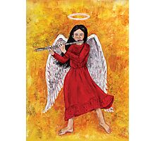 Angel girl playing flute Photographic Print