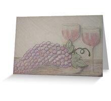 Still Life - Drawing Grapes and Wine Greeting Card