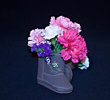Little Girl Country Boots Bouquet Still Life by Sherry Hallemeier