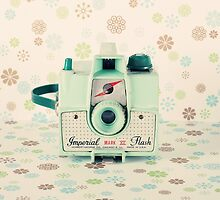 Retro - Vintage Mint Camera on Beige Pattern Background  by Andreka