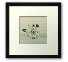 Retro - Vintage Mint Camera on Pattern Background  Framed Print