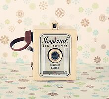 Retro - Vintage Pastel Camera on Cream Pattern Background  by Andreka