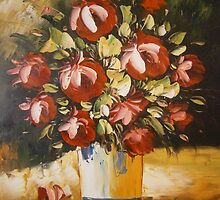 Red Roses, Light Study Oil on Canvas by Meaghan Louise