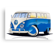 VW Splitty (11 Window) Blue Canvas Print