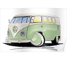 VW Splitty (11 Window) Pale Green Poster