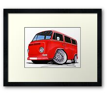 VW Bay-Window Camper Van (D) Red Framed Print