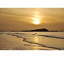 Yellow Craigs, East Lothian sunset showing Fidra Lighthouse and Island in the Firth of Forth Photographic Print